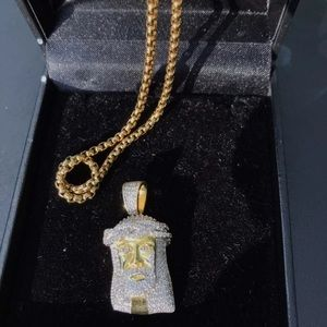 Gold Plated Sterling Silver Jesus Piece Pendant